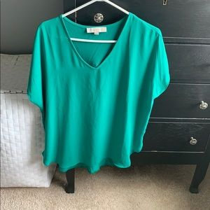 Vibrant green short sleeve blouse
